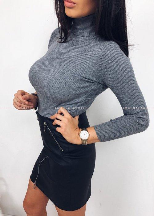 Sweterek z golfem SIMPLE - szary