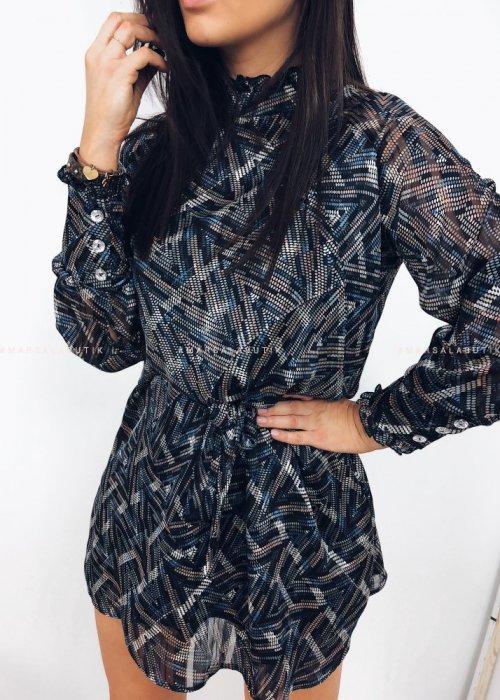 Sukienka GEISHA czarna w geometryczne wzory