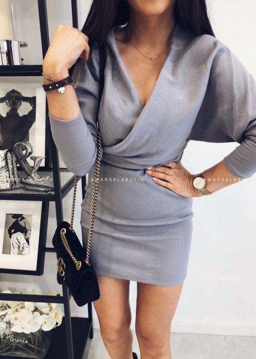 Sukienka MISTY prążek z zakładkami szara