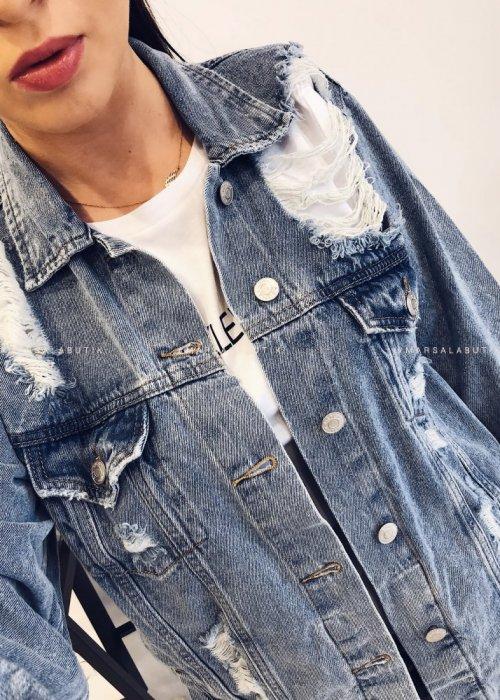 Katana BRAND jeansowa z przetarciami jasna
