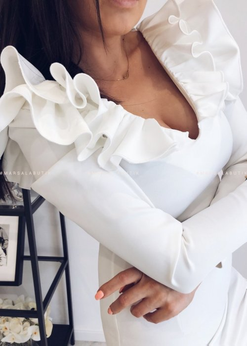 WHITE SUEDE V frill dress white