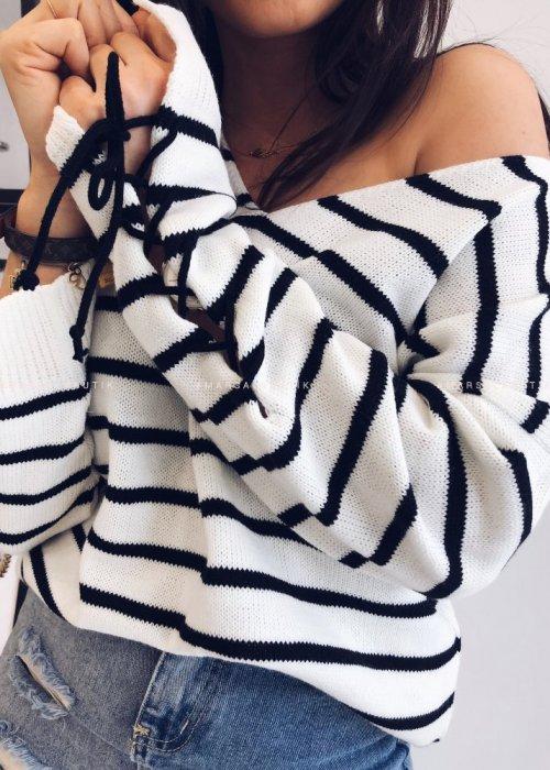 Sweter SHABBIE V paski biało czarne