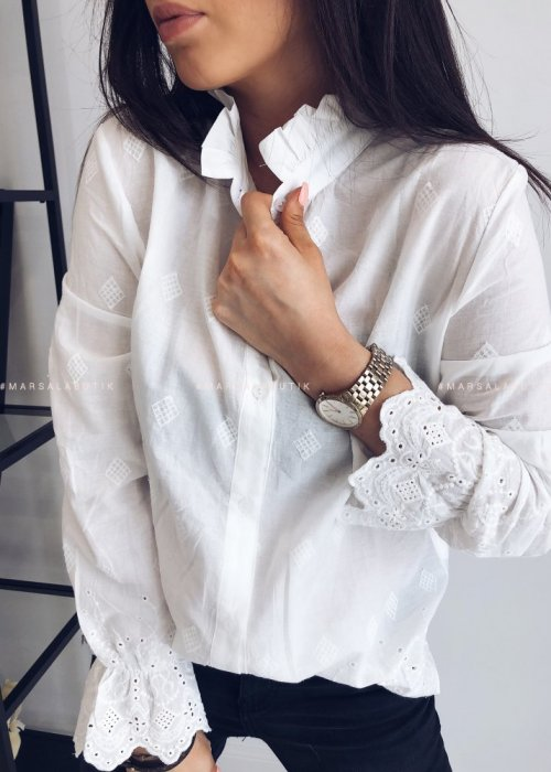 Koszula GIOVANE biała z tłoczonym wzorem