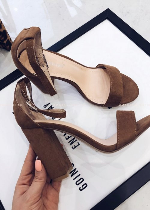 SHE suede heeled sandals - camel