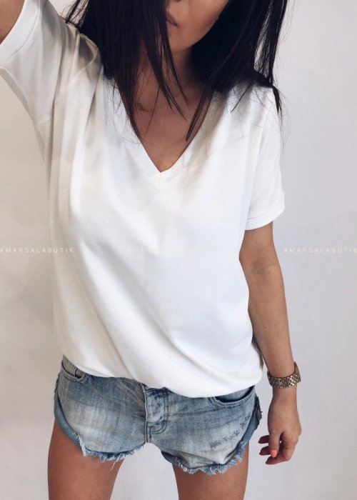 T shirt V NECK BASIC BY MARSALA biały