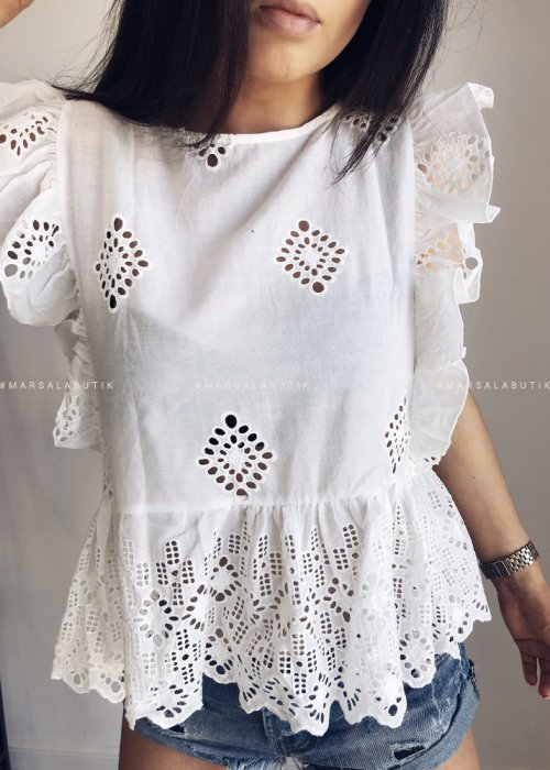 BUTTERFLY openwork blouse/top