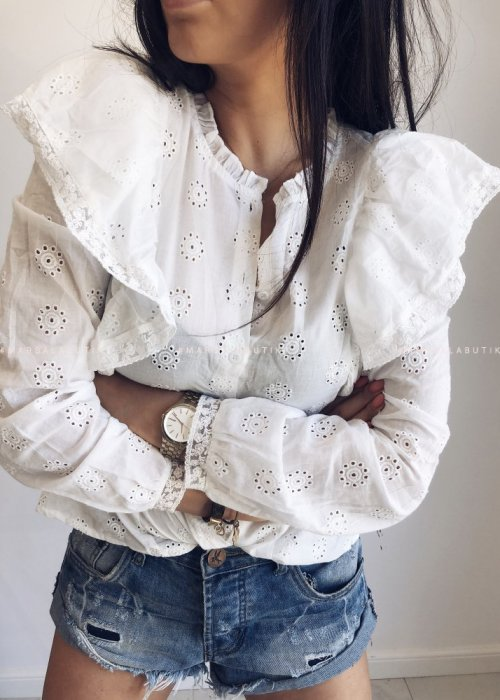 Koszula BRIDE z falbana biała
