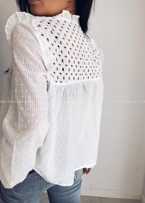 White dotted ASHLEY blouse