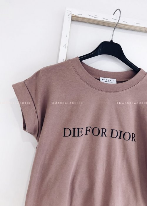 T shirt Die for Dior brudny róż