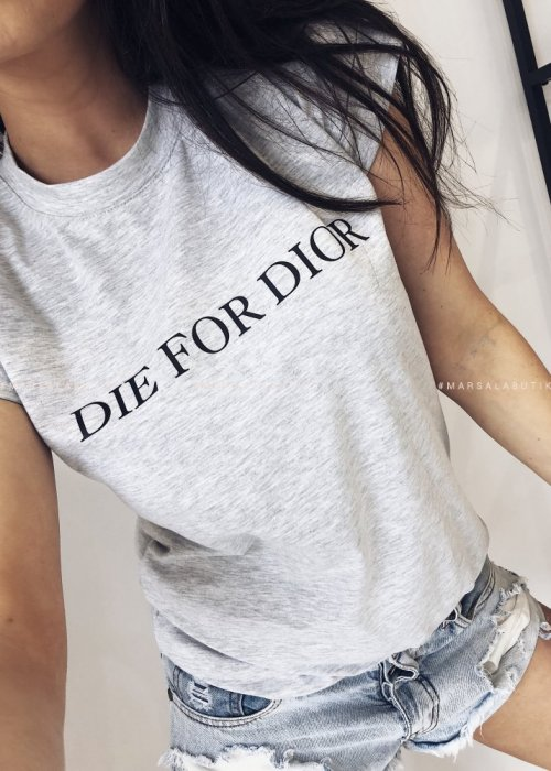 T shirt Die for Dior szary