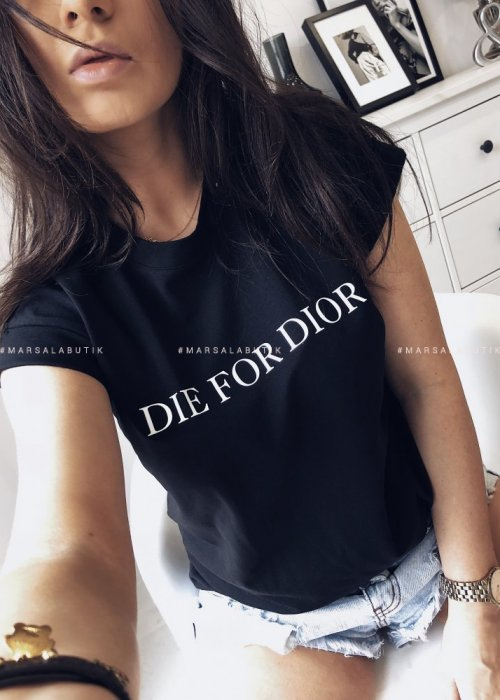T shirt Die for Dior czarny