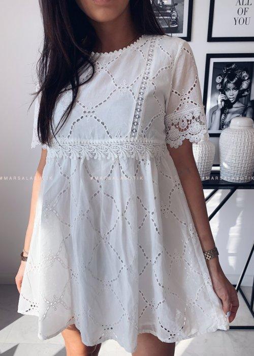 Sukienka SHALOW ażurowa biała