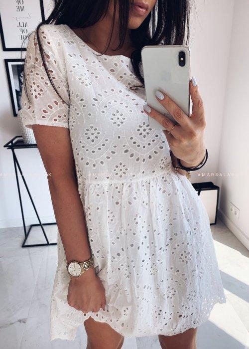 Sukienka ażurowa krótki rękaw - KATIE