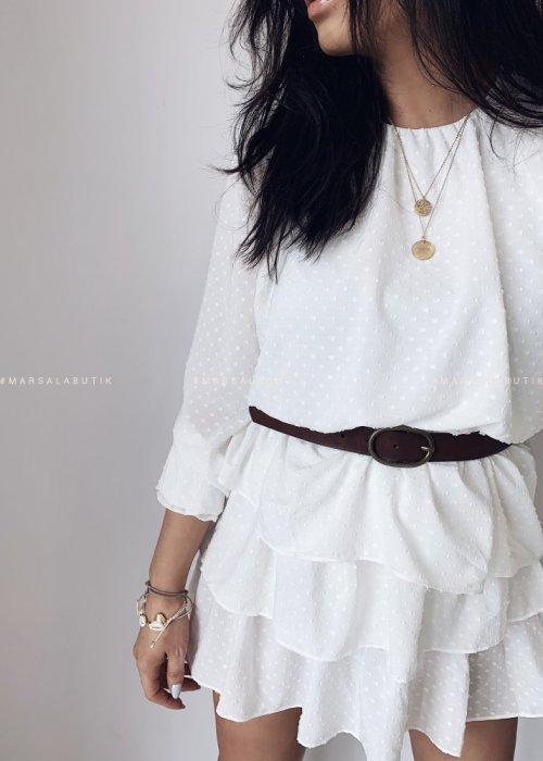 Sukienka PARADISE biała w kropeczki
