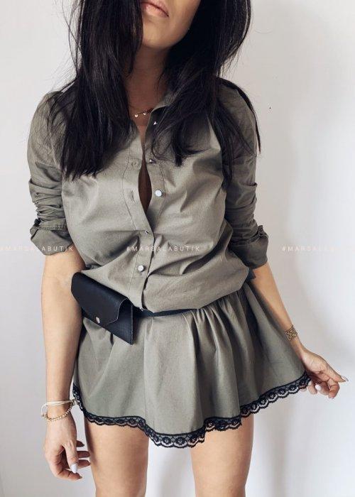 Sukienka koszulowa ARMY GIRL z NERKĄ khaki