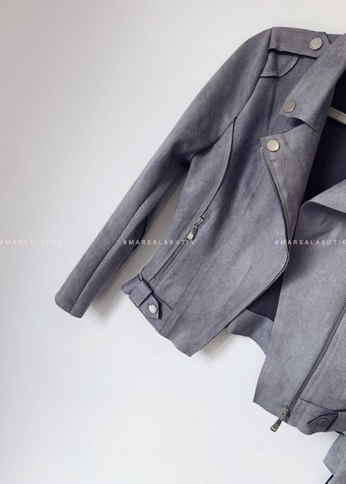 Leather jacket suede MISS grey