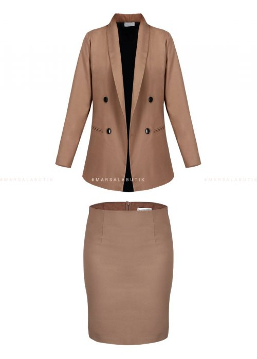 SOBER SET JACKET + SKIRT BEIGE
