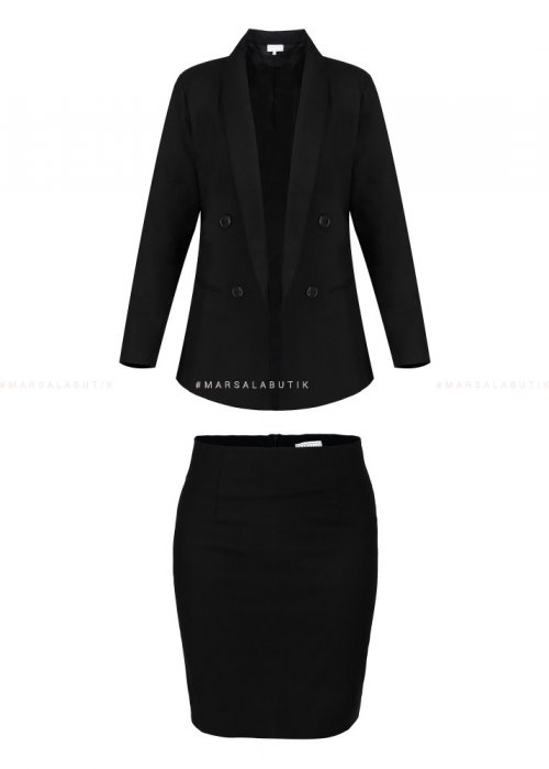 SOBER SET JACKET + SKIRT BLACK