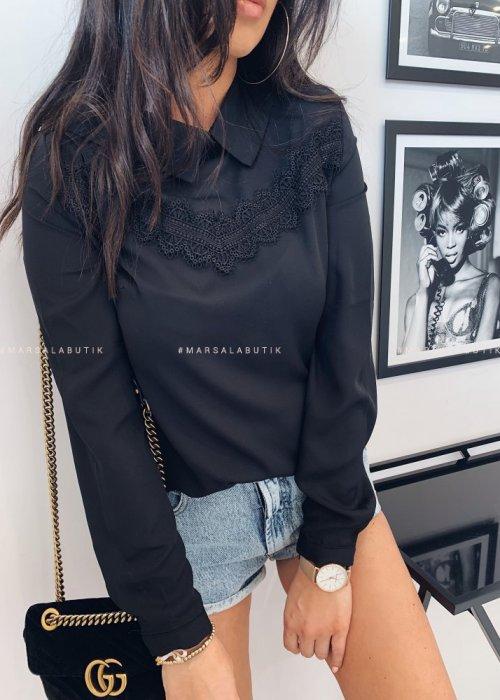 Koszula MORIS czarna z koronkową wstawką