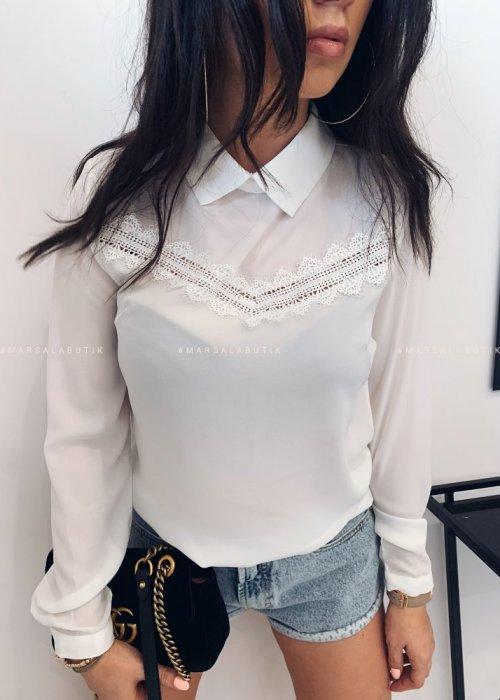 Koszula MORIS biała z koronkową wstawką