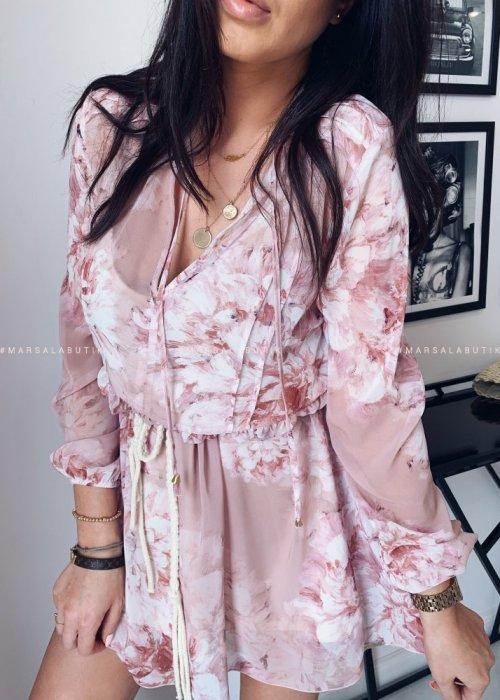 Sukienka SPRING z wiązaniem kwiatowy wzór puder