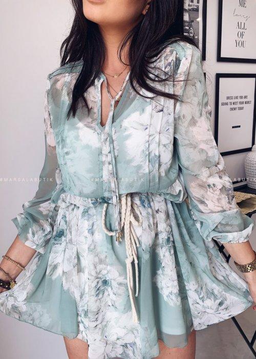 Sukienka SPRING z wiązaniem kwiatowy wzór miętowy