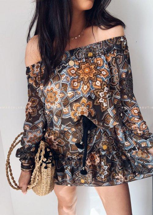 Sukienka hiszpanka ETNO print - brąz