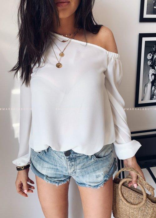 Koszula MANTY na jedno ramię - biała