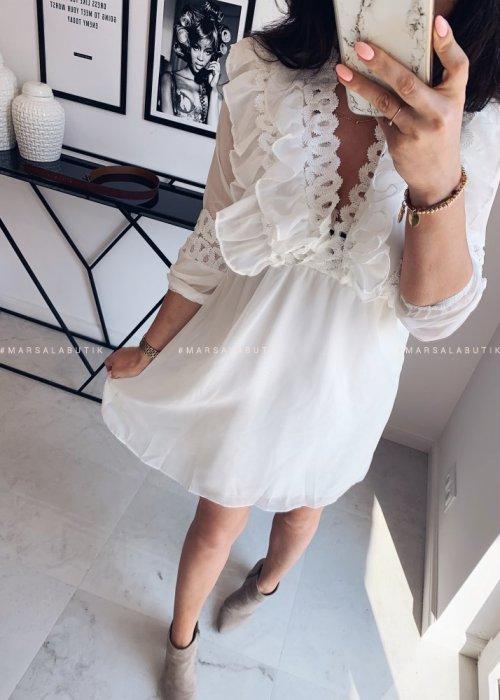 Sukienka TRIS szyfonowa biała