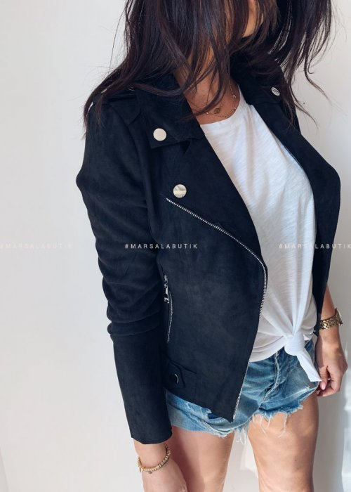 Leather jacket suede MISS black