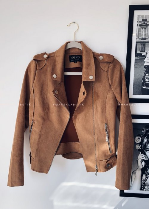 Leather jacket suede MISS camel
