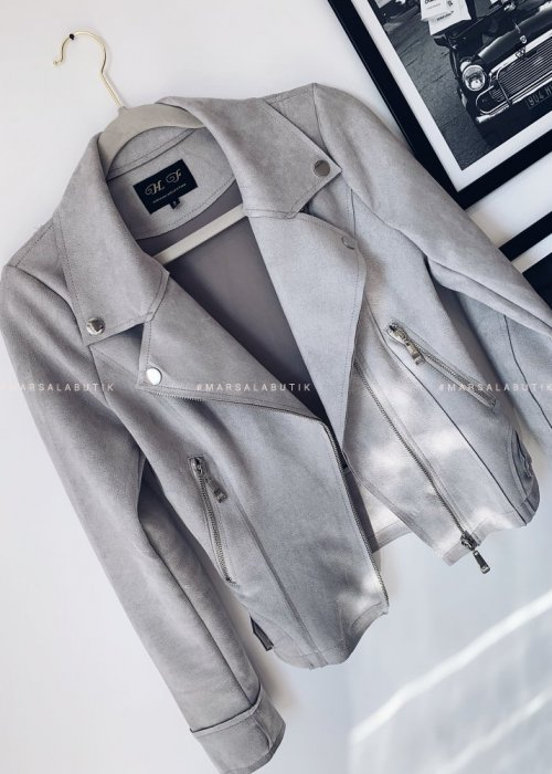 Leather jacket suede MISS light grey