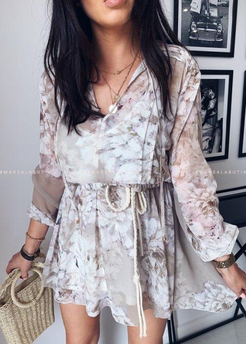 Sukienka SPRING z wiązaniem kwiatowy wzór beż