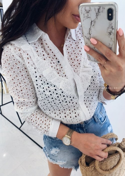 EMILY openwork frill blouse in white