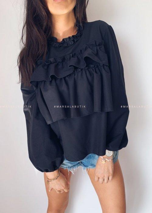 Bluzka CARMEN BY MARSALA z falbankami czarna