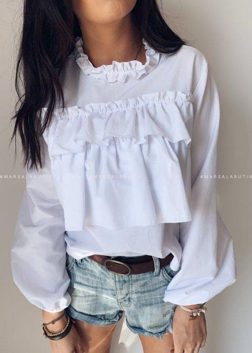 Bluzka CARMEN BY MARSALA z falbankami biała