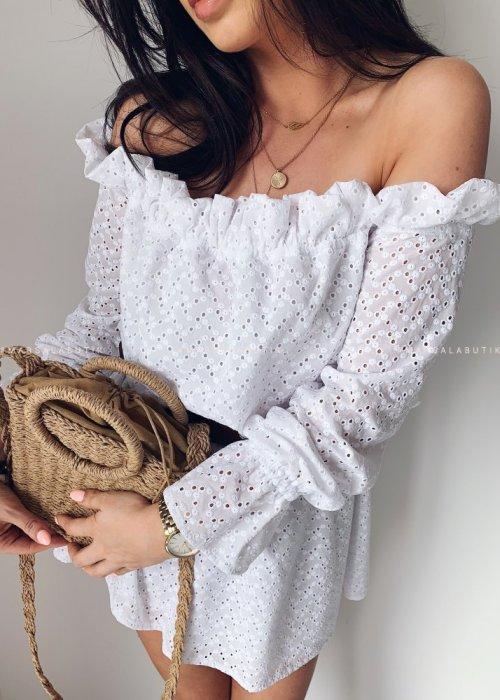 Sukienka hiszpanka DAILY biała ażurowa
