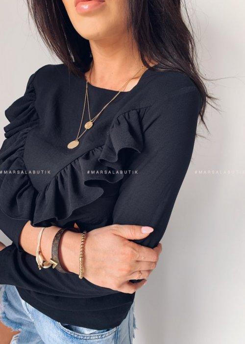 Bluzka z falbanką ALIZE BY MARSALA czarna