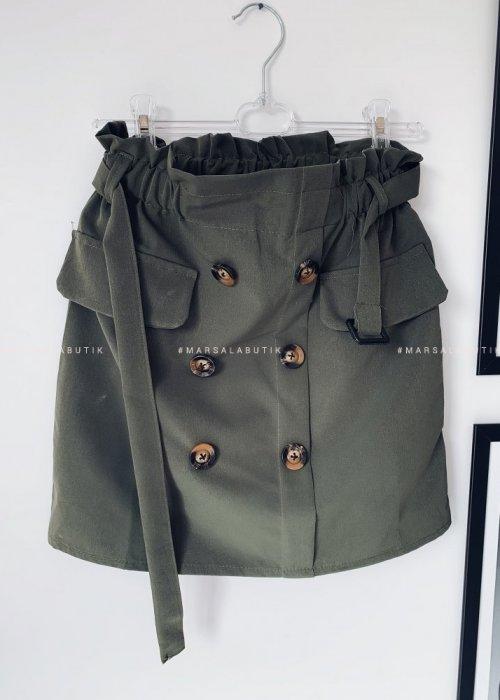 Spódniczka KAYA khaki guziczki