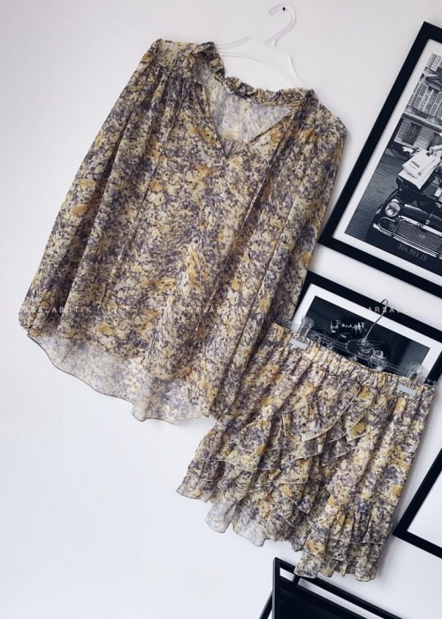 DUO set blouse + skirt with yellow marble