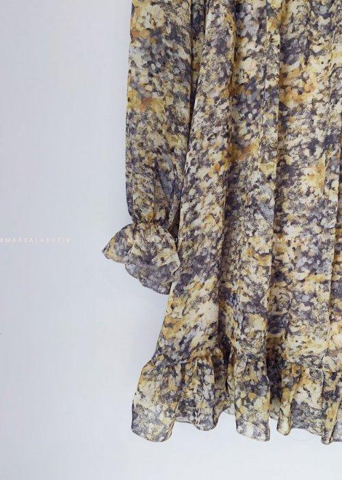 Sukienka FOLLY marmurkowa żółta