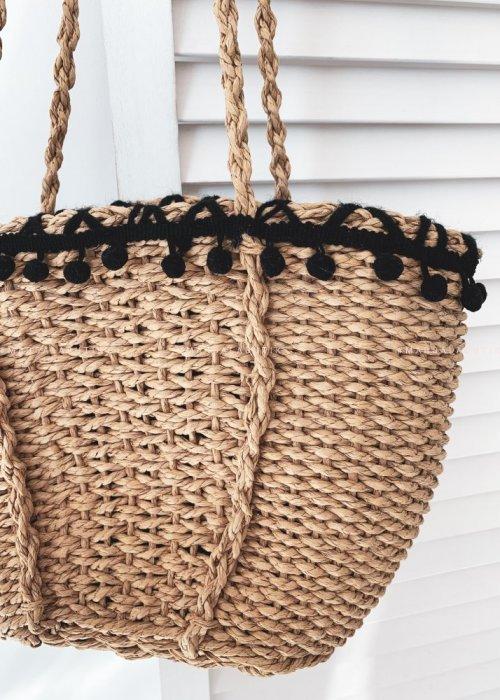 PUMP bag with black pompoms