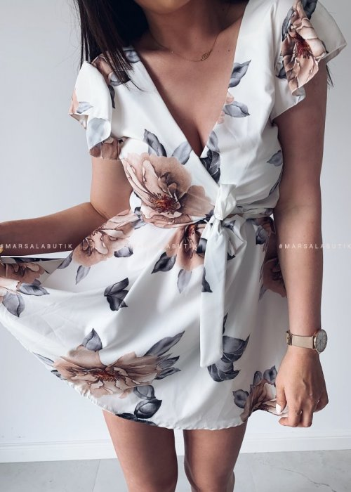 Sukienka SANCHI ecru kwiaty brąz