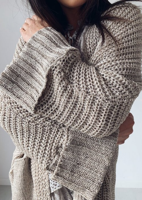 SOMFY cardigan with light mocca pockets