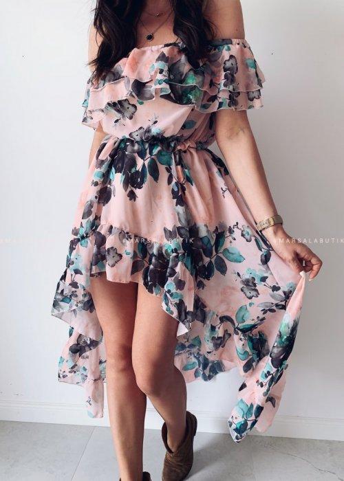 Sukienka maxi PALMBAY flower pink