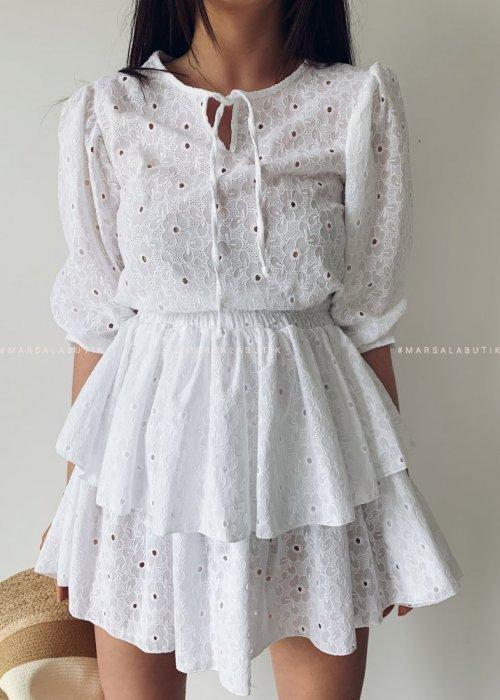 Sukienka NANCY BY MARSALA biała ażurowa