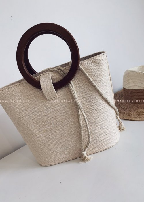 RING wicker bag lihgt beige