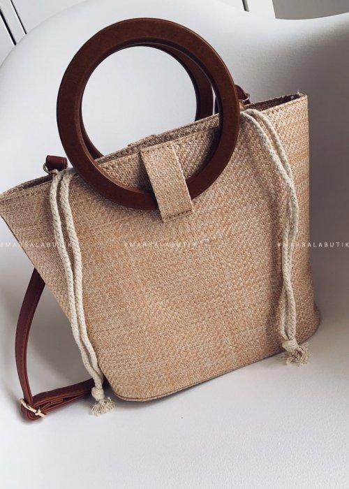 RING wicker bag dark beige