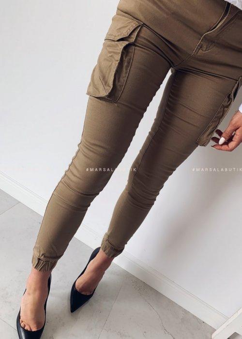 Spodnie bojówki ROY z kieszeniami camel