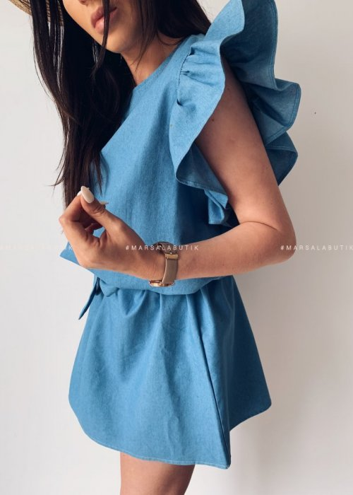 Sukienka CHELSEA a la JEANS błękitna z falbankami
